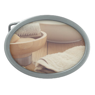 Spa and Retreat Background Oval Belt Buckles