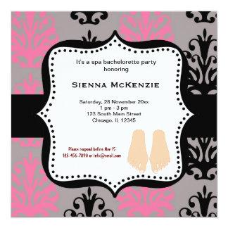 """Spa Bachelorette Party 5.25"""" Square Invitation Card"""
