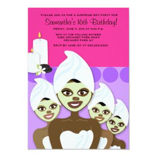 "SPA Birthday or Bridal Shower 5x7 AFRICAN AMERICAN 5"" X 7"" Invitation Card"