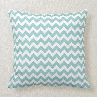 Spa Blue  Aqua Chevron Trendy Zig Zag Pattern Throw Pillow