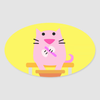 Spa Cat yellow Oval Sticker