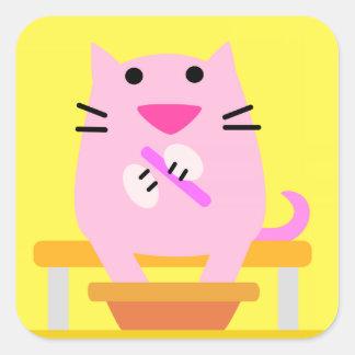 Spa Cat yellow Square Sticker