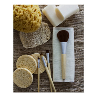 Spa detail of sponges and brushes poster