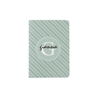 Spa Green Stripes Monogram Passport Holder