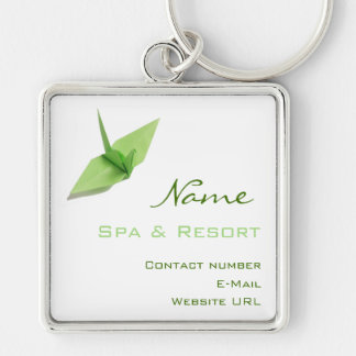 Spa Keychain Silver-Colored Square Keychain