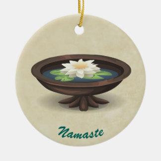 Spa Lotus Wooden Pool TEXT NAMASTE Ceramic Ornament