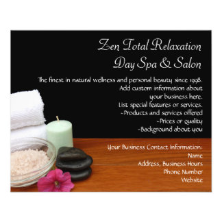 Spa/Massage/Pedicure Salon Scene Black/Color Flyer