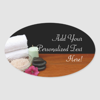 Spa/Massage/Pedicure Salon Scene Black/Color Oval Sticker