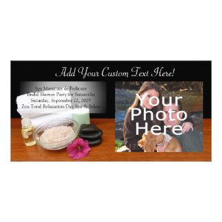 Spa/Massage/Pedicure Salon Scene Black/Color Customized Photo Card