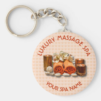 Spa Massage Therapy Salon Candle Stone With Name Basic Round Button Keychain