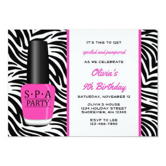 Spa Nail Polish Birthday Invitations