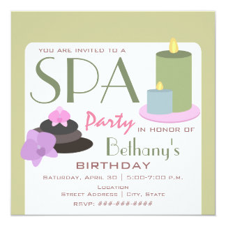 Spa Party Birthday - Candles Orchids and Stones Card