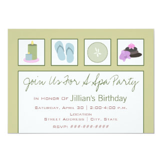Spa Party - Candles Flip Flops Cucumber Orchids Card