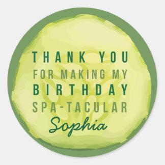Spa Party Cucumber Label Round Sticker