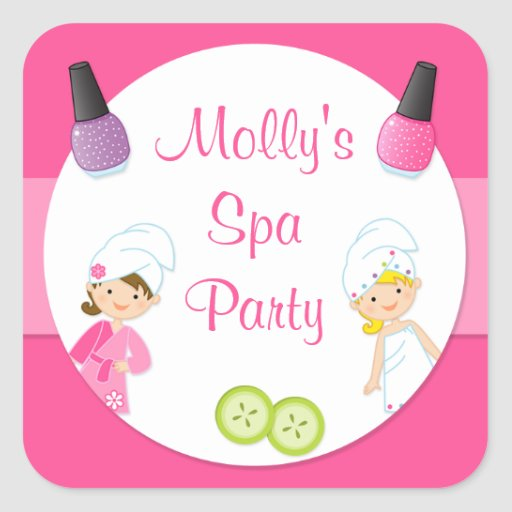 Spa Party Favor Sticker