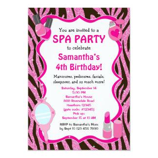 "Spa Party Invitation, Spa Birthday sleepover 5"" X 7"" Invitation Card"