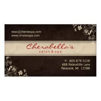 Spa Salon Business Card Floral Butterflies Brown C
