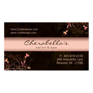 Spa - Salon Flower Elegant Peach Business Card