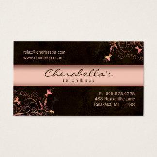Spa - Salon Flower Elegant Peach Business Card