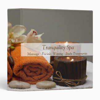 Spa Salon Tranquil Towels Candles Vinyl Binder