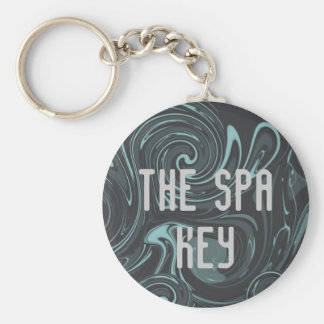 Spa Teal Black Swirl Business Logo Basic Round Button Keychain