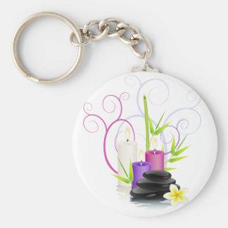 Spa theme basic round button keychain