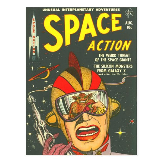 Vintage Book Cover Postcards : Space action cool vintage comic book cover art postcard