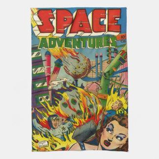 SPACE ADVENTURES RETRO COMICS KITCHEN TOWEL