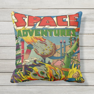 SPACE ADVENTURES SCI FI GRAPHIC ART THROW PILLOW