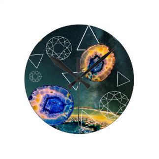 Space Agate Round Clock