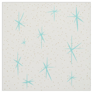 Space Age Turquoise Starbursts Fabric