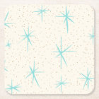 Space Age Turquoise Starbursts Hard Paper Coaster