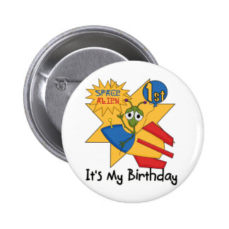Space Alien 1st Birthday Tshirts and Gifts Pin