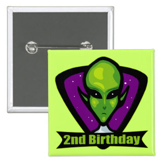 Space Alien 2nd Birthday Gifts 2 Inch Square Button