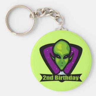 Space Alien 2nd Birthday Gifts Basic Round Button Keychain