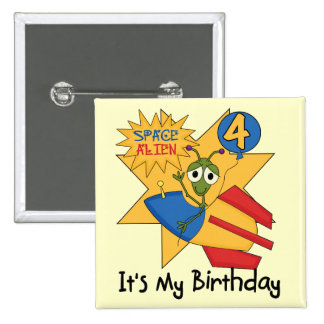 Space Alien 4th Birthday T-shirts and Gifts Pins