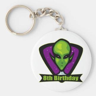 Space Alien 8th Birthday Gifts Basic Round Button Keychain