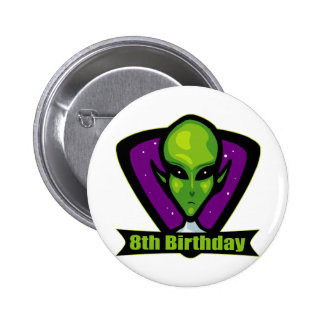 Space Alien 8th Birthday Gifts Pinback Button