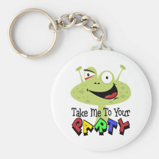 Space Alien Birthday Basic Round Button Keychain