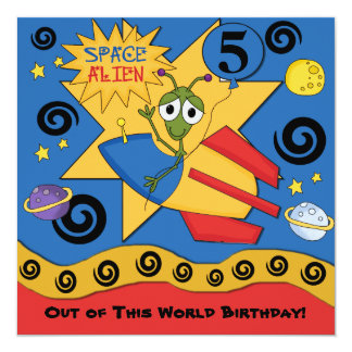 Space Alien Customized  Birthday Invitations