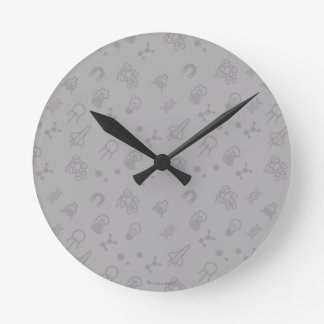 Space And Science Doodles Round Clock