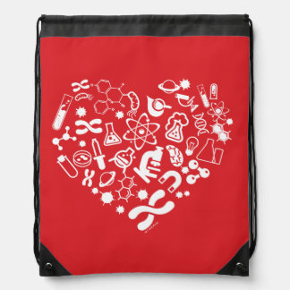 Space And Science Heart Drawstring Bag