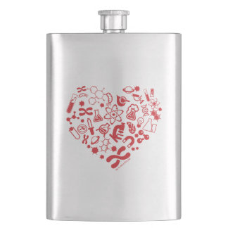 Space And Science Heart Hip Flask