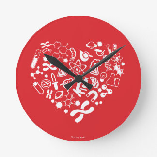 Space And Science Heart Round Clock
