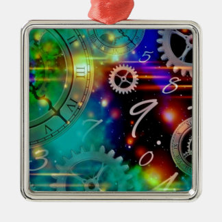 Space and Time Science Fiction Silver-Colored Square Ornament