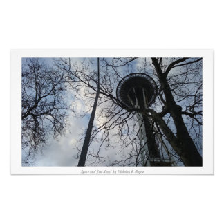 """""""Space and Tree Lace"""" Seattle Space Needle Art Photo"""