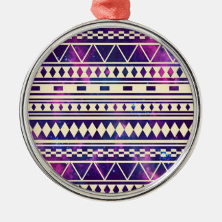 Space andes aztec round metal christmas ornament