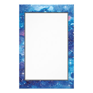 Space Art Watercolor Galaxy Custom Stationery