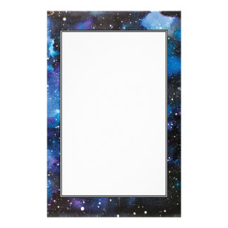 Space Art Watercolor Galaxy Stationery Design