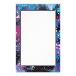Space Art Watercolor Galaxy Stationery Paper